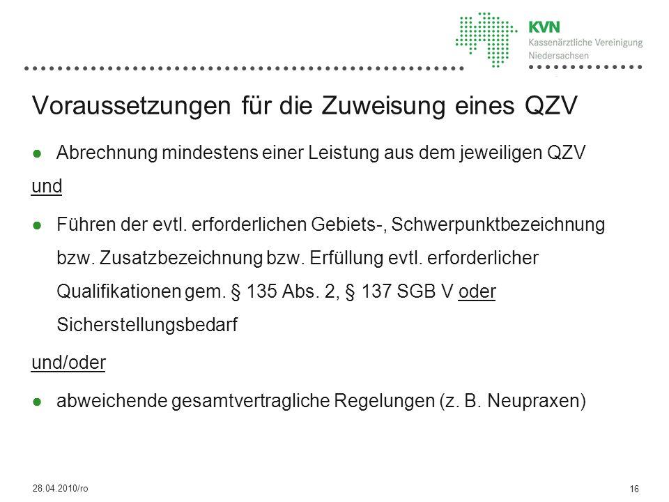 Voraussetzungen für die Zuweisung eines QZV