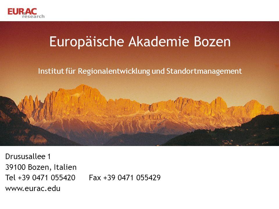 Europäische Akademie Bozen Institut für Regionalentwicklung und Standortmanagement
