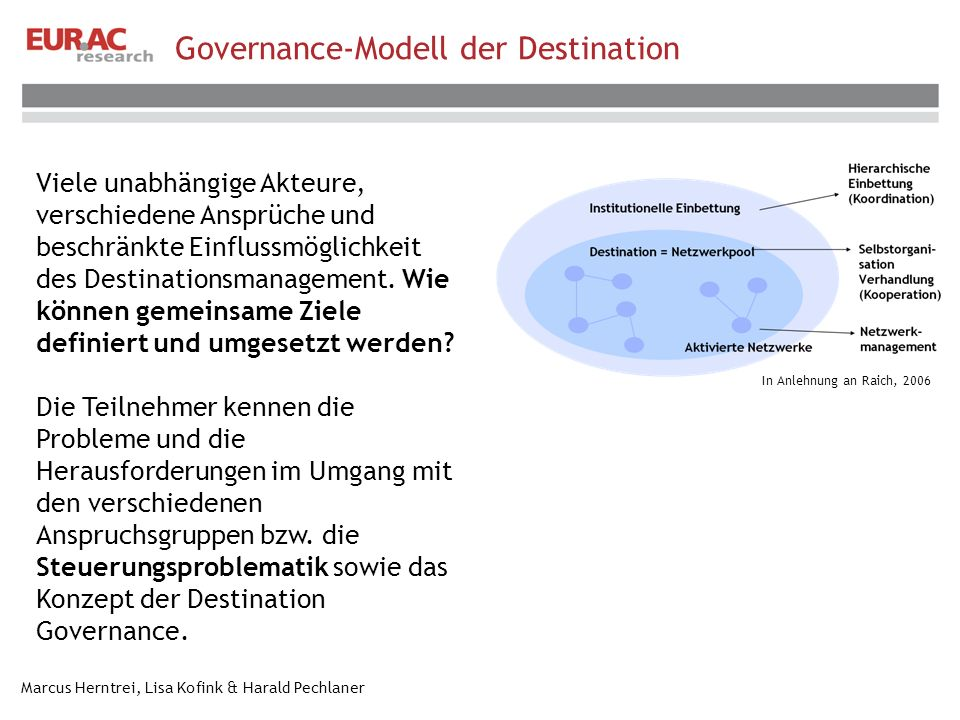 Governance-Modell der Destination