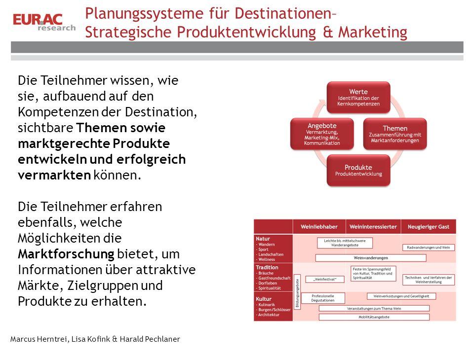Planungssysteme für Destinationen– Strategische Produktentwicklung & Marketing