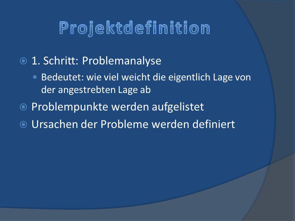 Projektdefinition 1. Schritt: Problemanalyse