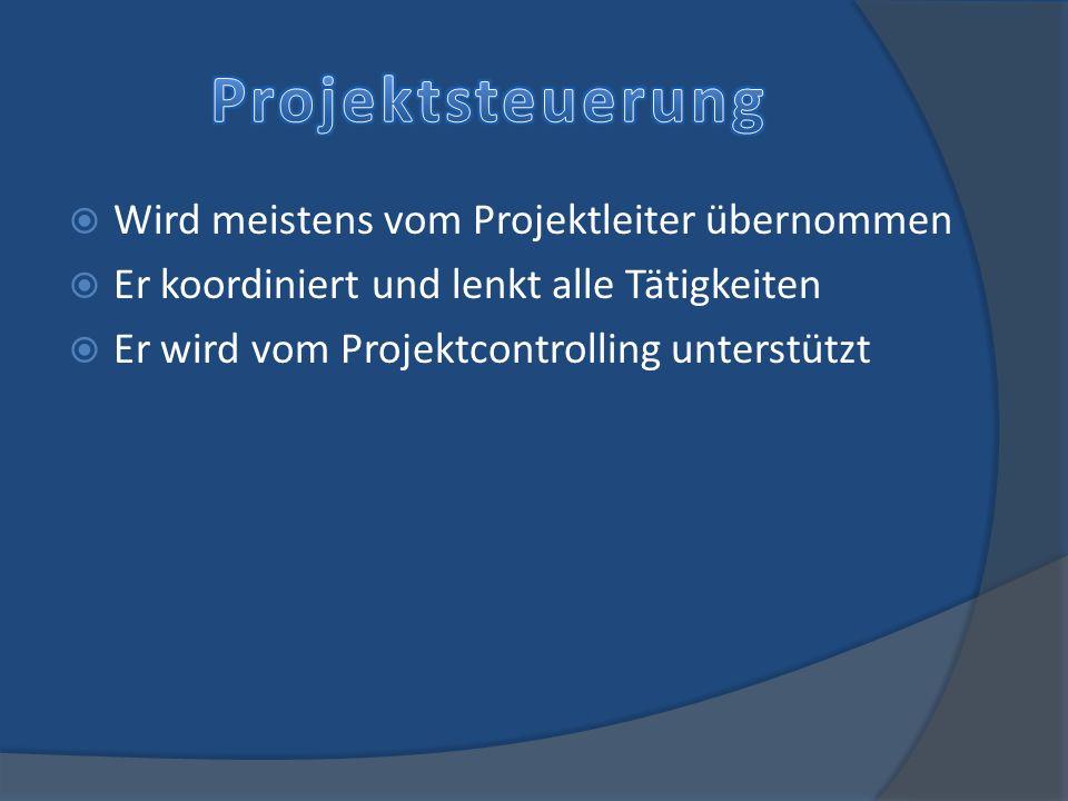 Projektsteuerung Wird meistens vom Projektleiter übernommen