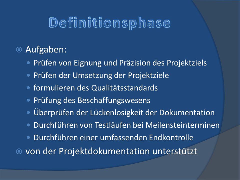 Definitionsphase Aufgaben: von der Projektdokumentation unterstützt