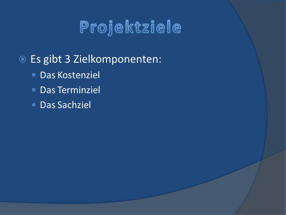 Projektziele Es gibt 3 Zielkomponenten: Das Kostenziel Das Terminziel