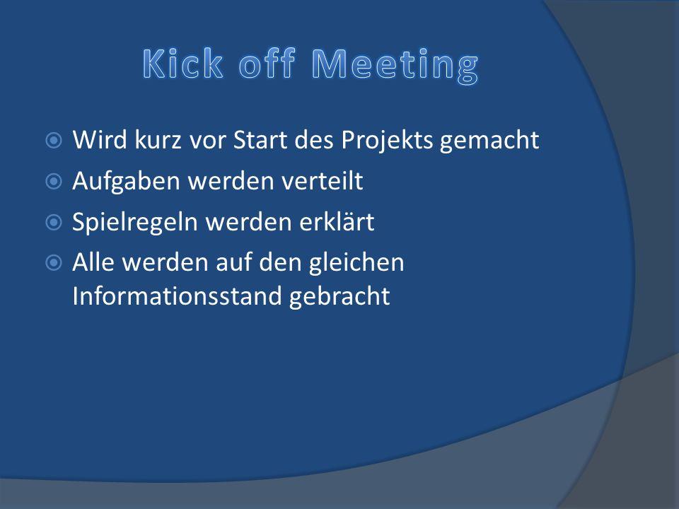 Kick off Meeting Wird kurz vor Start des Projekts gemacht