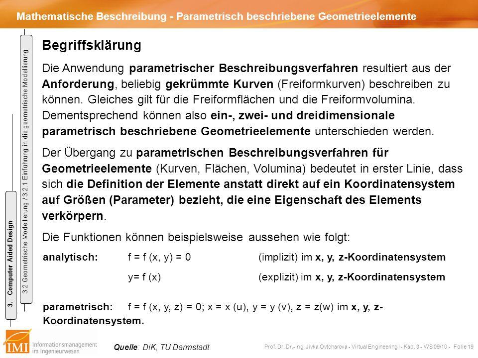 Mathematische Beschreibung - Parametrisch beschriebene Geometrieelemente