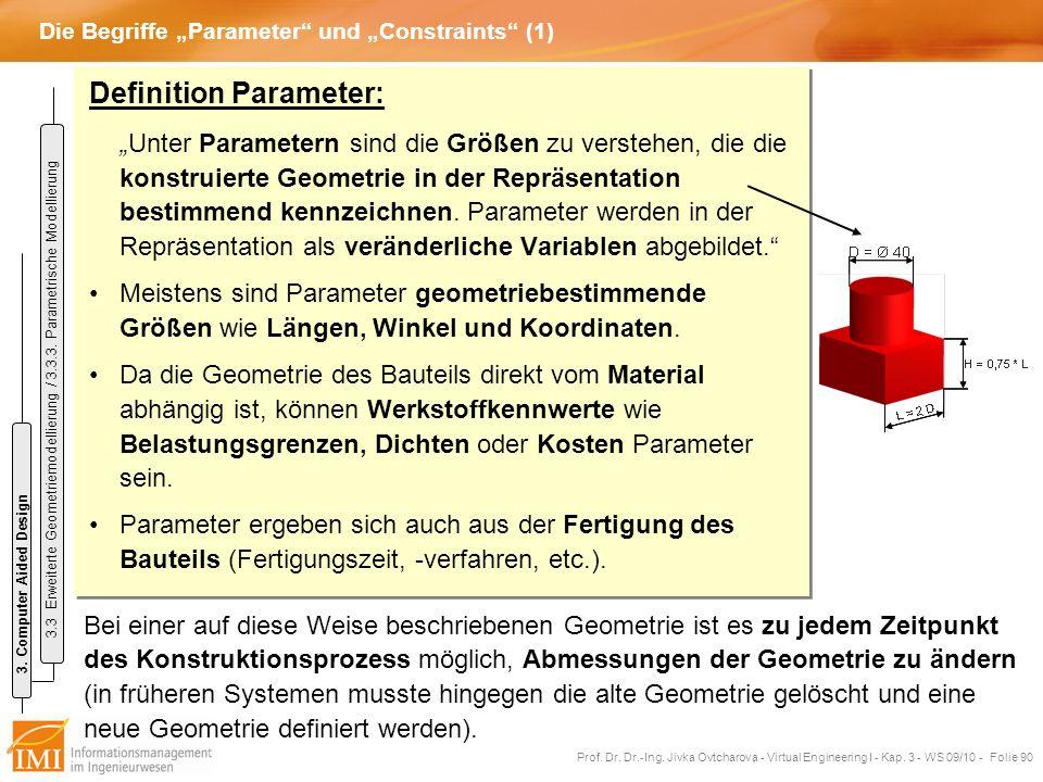 """Die Begriffe """"Parameter und """"Constraints (1)"""