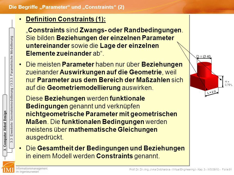 """Die Begriffe """"Parameter und """"Constraints (2)"""
