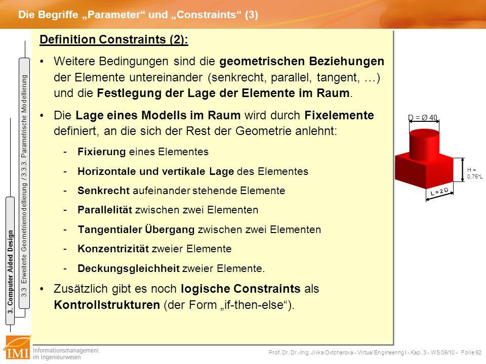 """Die Begriffe """"Parameter und """"Constraints (3)"""