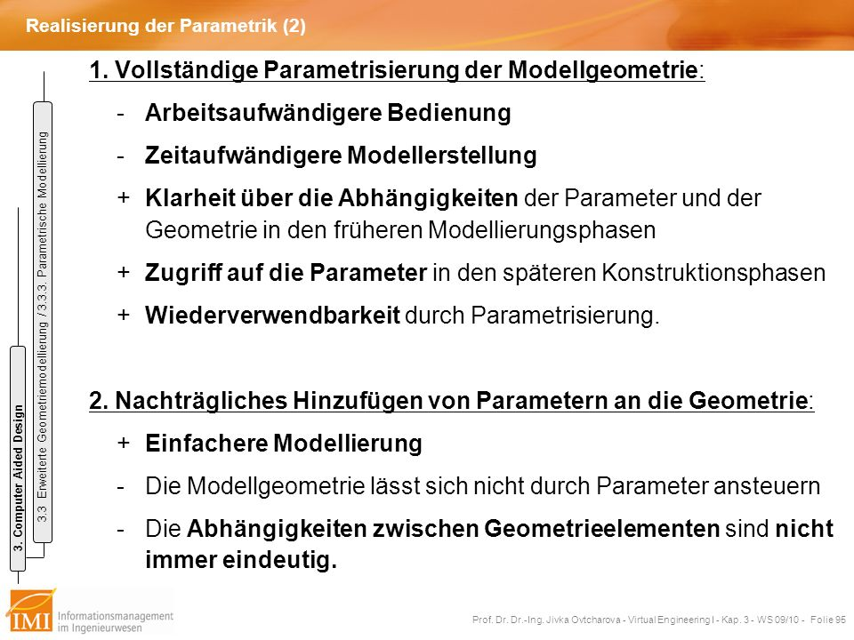 Realisierung der Parametrik (2)