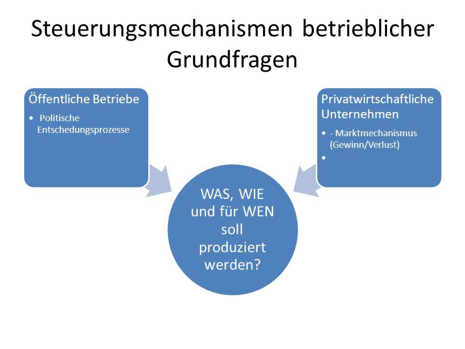 Steuerungsmechanismen betrieblicher Grundfragen