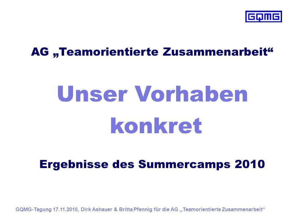 """AG """"Teamorientierte Zusammenarbeit Ergebnisse des Summercamps 2010"""