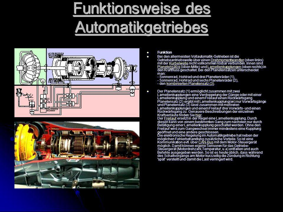 Funktionsweise des Automatikgetriebes