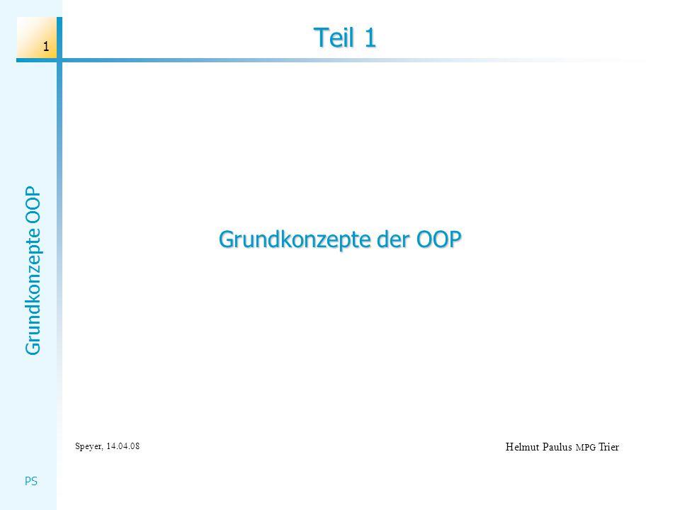 Teil 1 Grundkonzepte der OOP Speyer, 14.04.08 Helmut Paulus MPG Trier