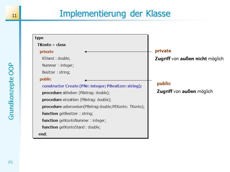 Implementierung der Klasse