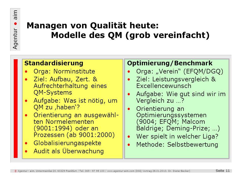 Managen von Qualität heute: Modelle des QM (grob vereinfacht)