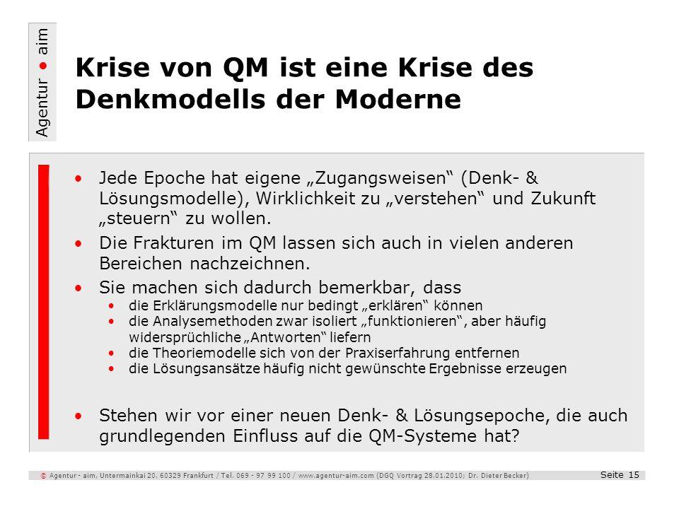 Krise von QM ist eine Krise des Denkmodells der Moderne