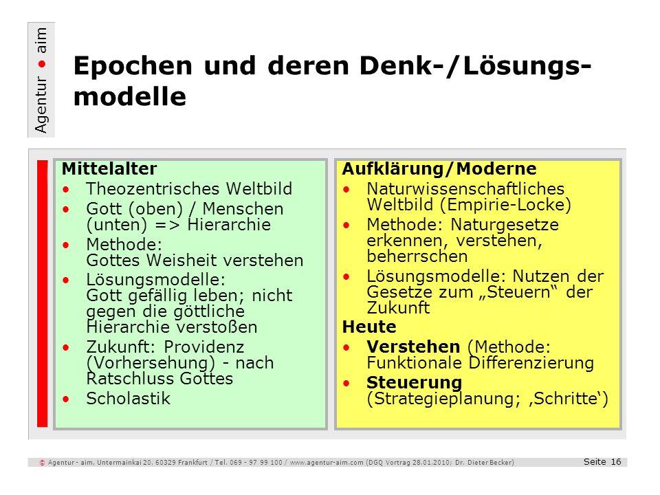 Epochen und deren Denk-/Lösungs-modelle