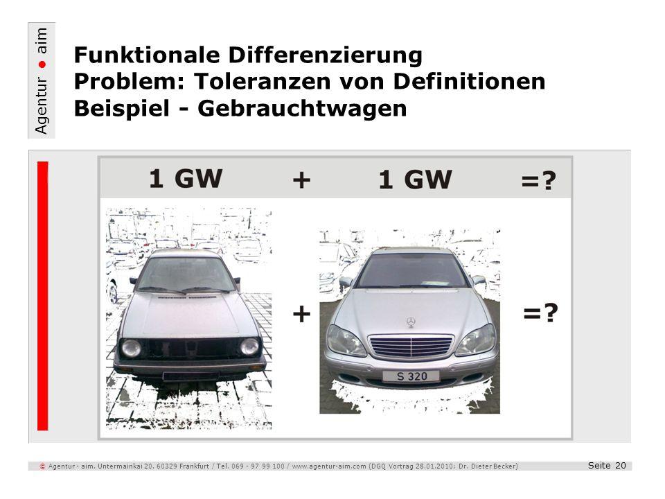 Funktionale Differenzierung Problem: Toleranzen von Definitionen Beispiel - Gebrauchtwagen