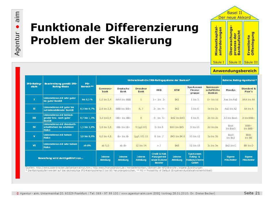 Funktionale Differenzierung Problem der Skalierung