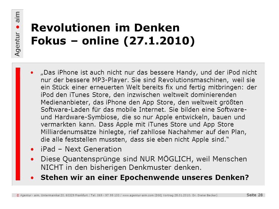 Revolutionen im Denken Fokus – online (27.1.2010)
