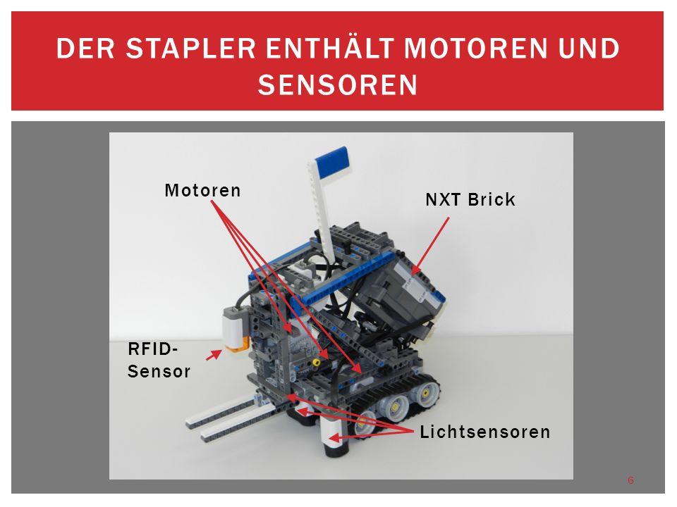 Der Stapler enthält Motoren und Sensoren