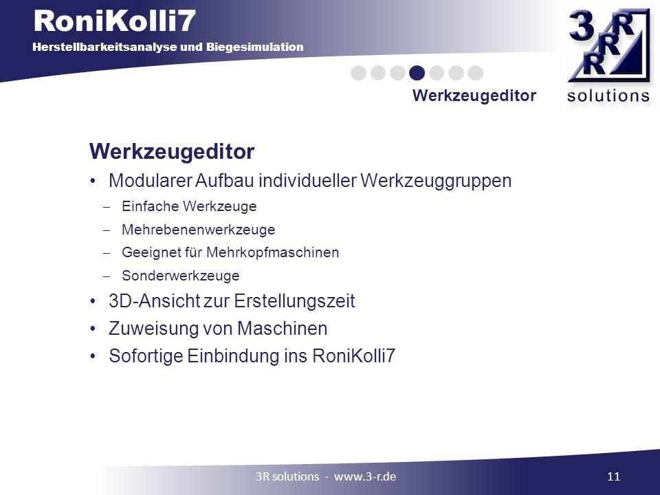 Werkzeugeditor Modularer Aufbau individueller Werkzeuggruppen