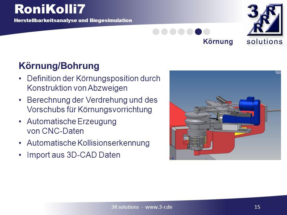 Körnung Körnung/Bohrung. Definition der Körnungsposition durch Konstruktion von Abzweigen.