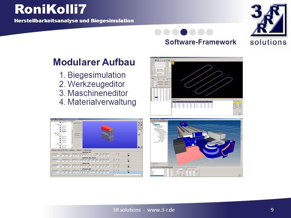 Modularer Aufbau Biegesimulation Werkzeugeditor Maschineneditor