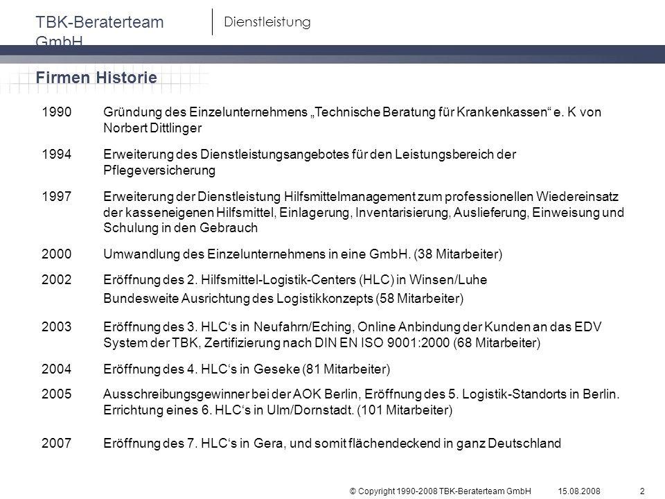 """Firmen Historie 1990. Gründung des Einzelunternehmens """"Technische Beratung für Krankenkassen e. K von Norbert Dittlinger."""