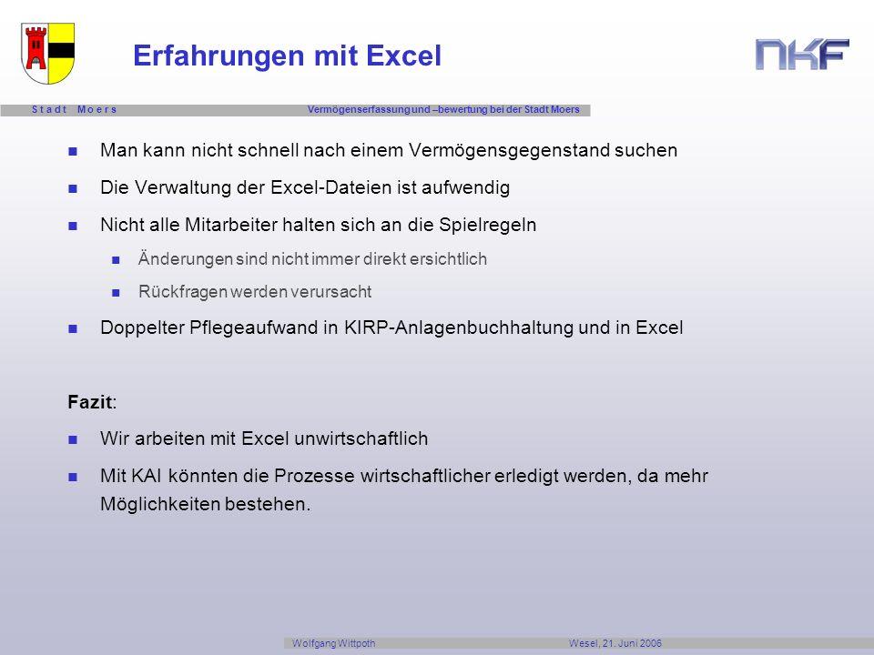 Erfahrungen mit Excel Man kann nicht schnell nach einem Vermögensgegenstand suchen. Die Verwaltung der Excel-Dateien ist aufwendig.