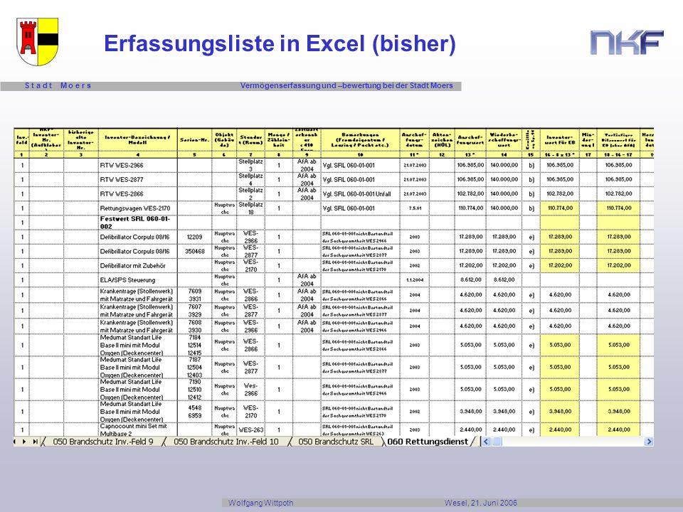 Erfassungsliste in Excel (bisher)