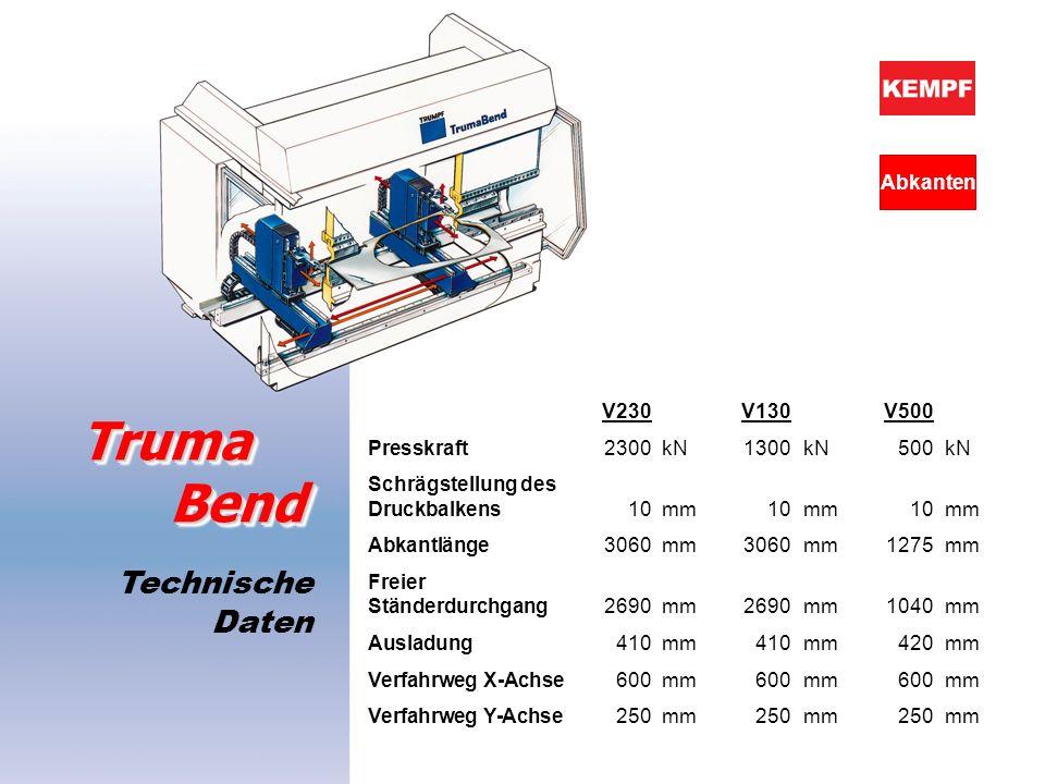 Truma Bend Technische Daten Abkanten V230 V130 V500
