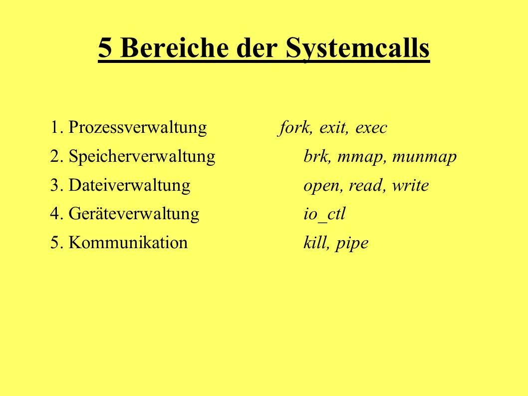 5 Bereiche der Systemcalls