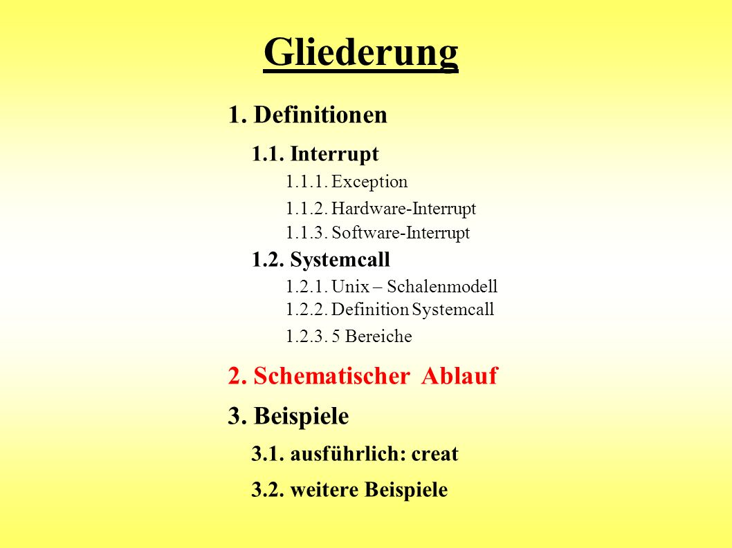 Gliederung Exception 1. Definitionen 1.1. Interrupt