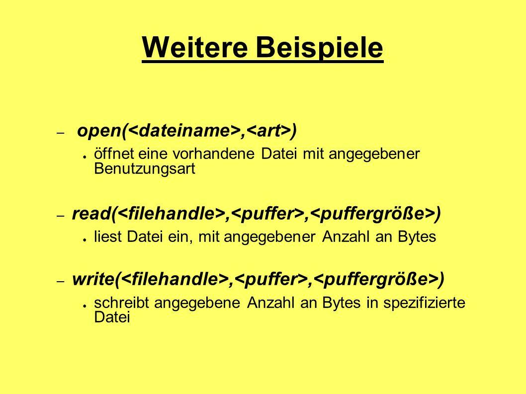 Weitere Beispiele open(<dateiname>,<art>)