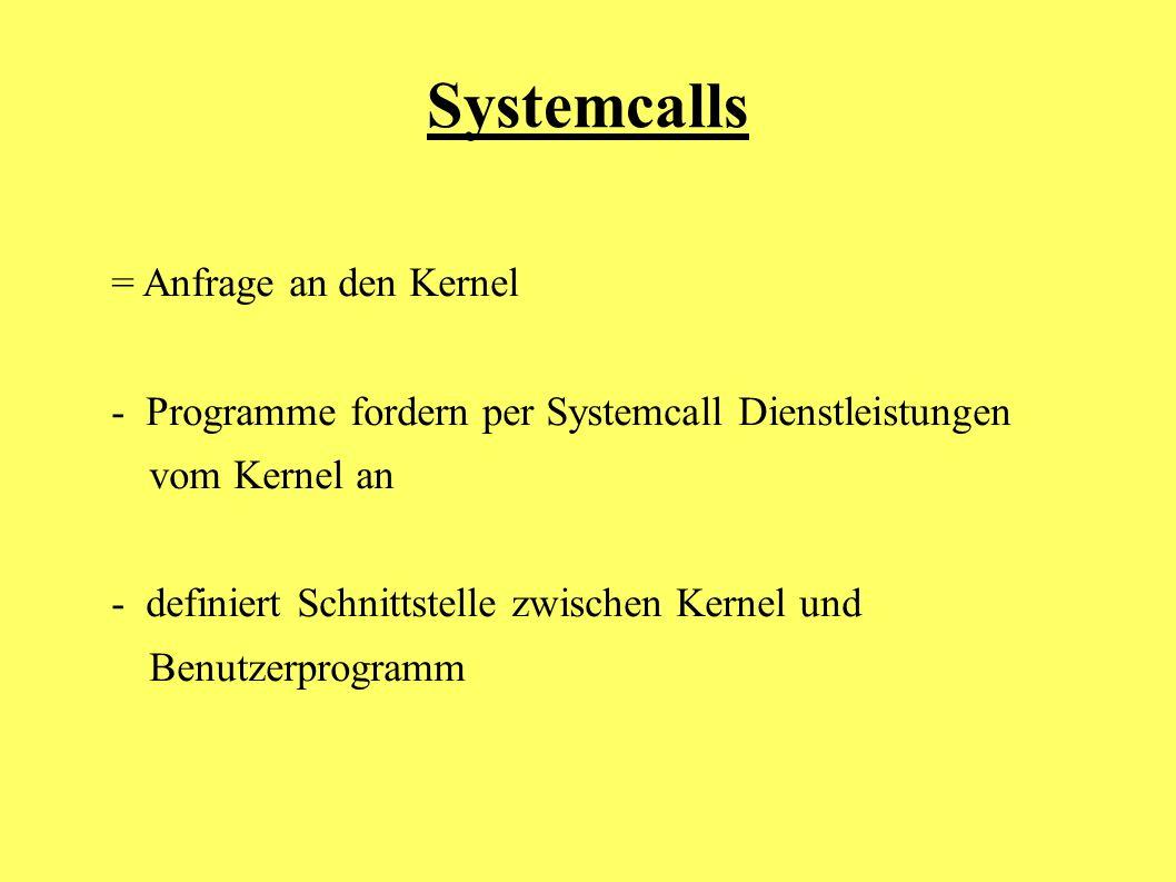 Systemcalls = Anfrage an den Kernel
