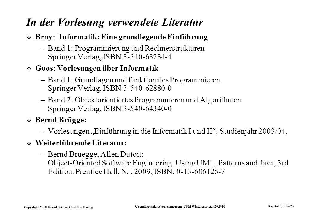In der Vorlesung verwendete Literatur