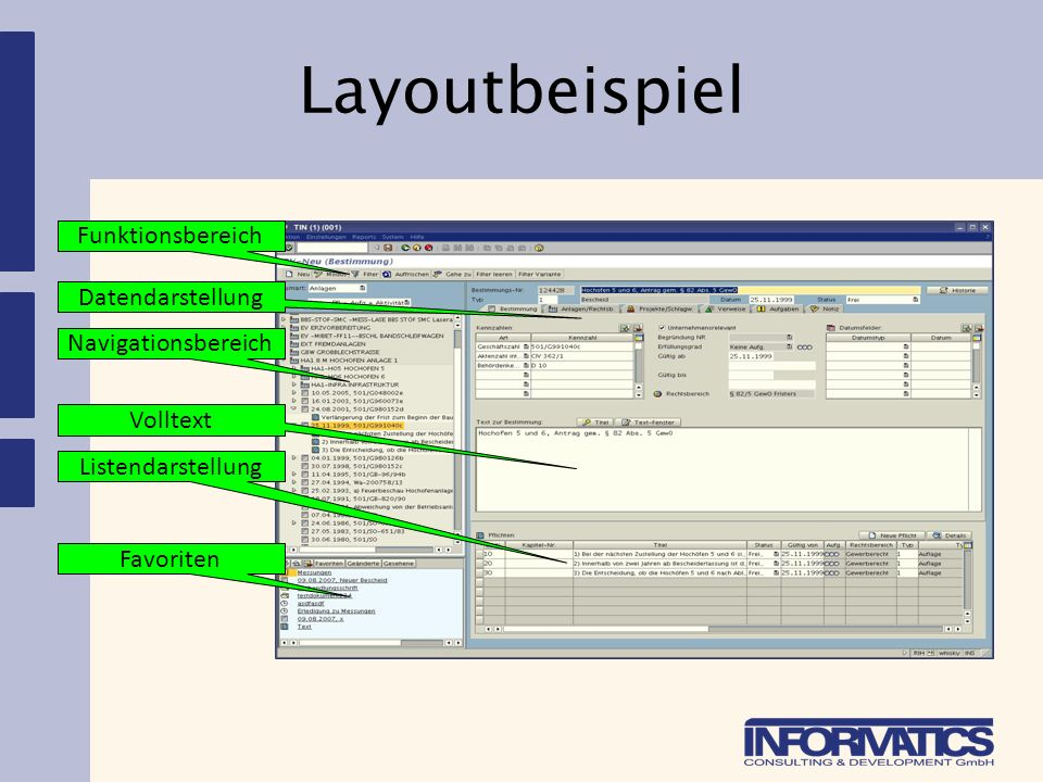Layoutbeispiel Funktionsbereich Datendarstellung Navigationsbereich