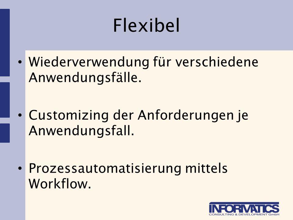 Flexibel Wiederverwendung für verschiedene Anwendungsfälle.