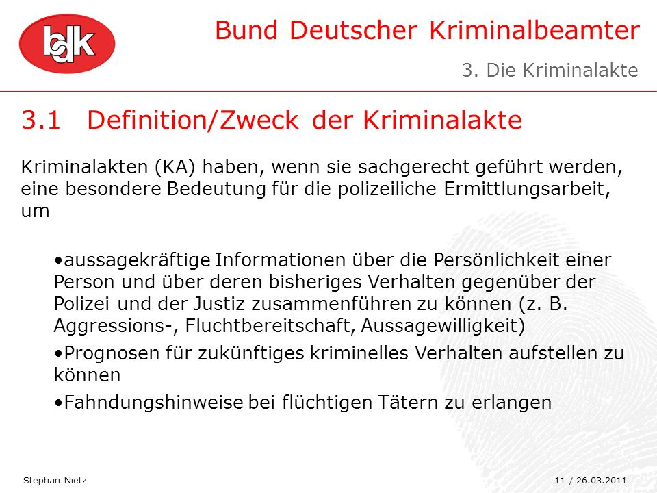 3.1 Definition/Zweck der Kriminalakte