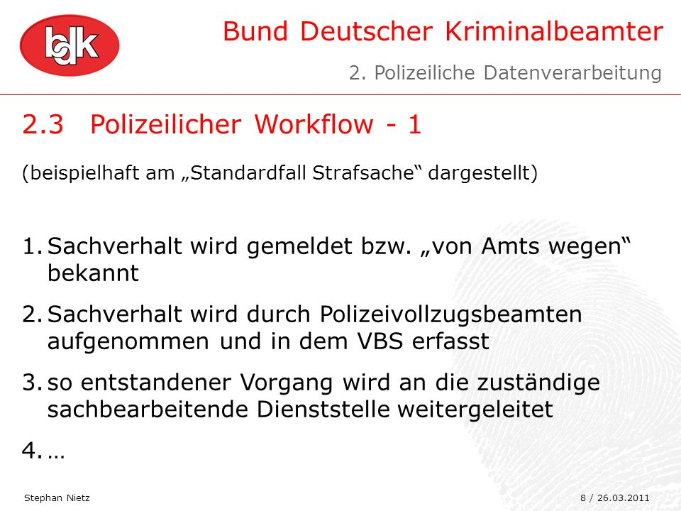 2.3 Polizeilicher Workflow - 1