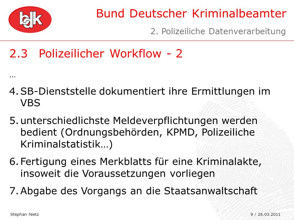 2.3 Polizeilicher Workflow - 2