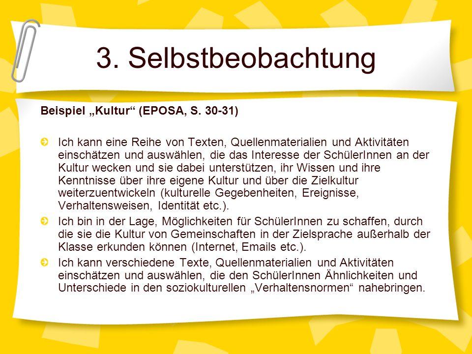 "3. Selbstbeobachtung Beispiel ""Kultur (EPOSA, S. 30-31)"
