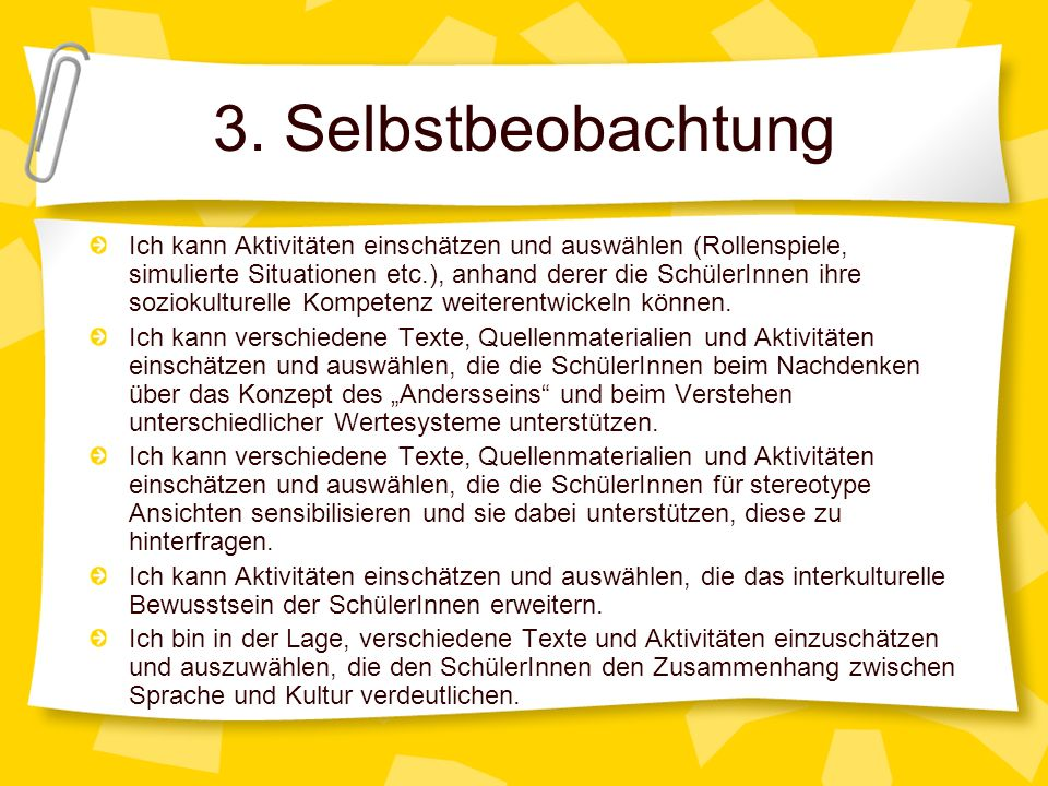 3. Selbstbeobachtung