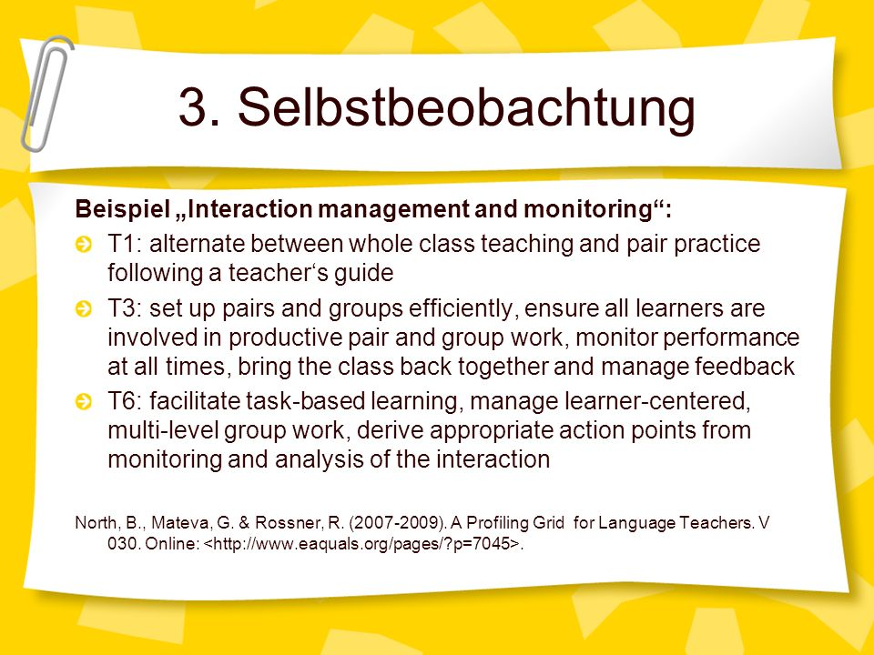 "3. Selbstbeobachtung Beispiel ""Interaction management and monitoring :"