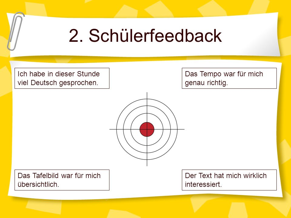 2. Schülerfeedback Ich habe in dieser Stunde viel Deutsch gesprochen.