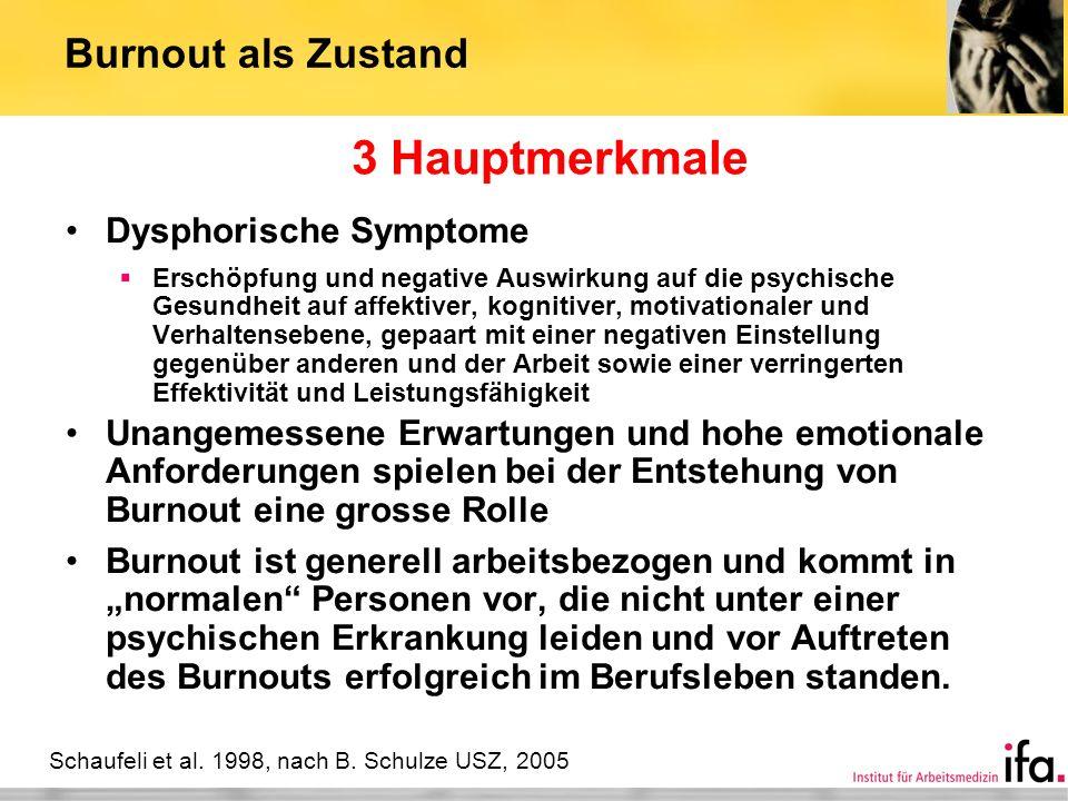 3 Hauptmerkmale Burnout als Zustand Dysphorische Symptome