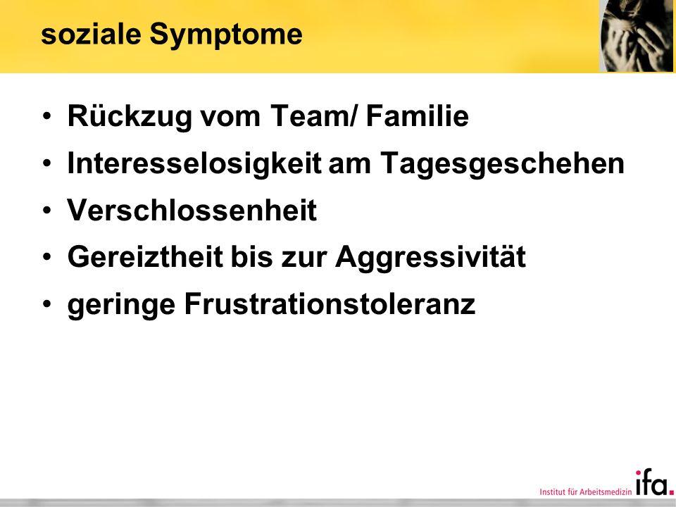 soziale Symptome Rückzug vom Team/ Familie. Interesselosigkeit am Tagesgeschehen. Verschlossenheit.