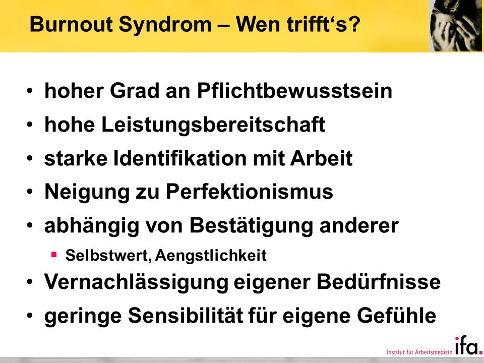 Burnout Syndrom – Wen trifft's